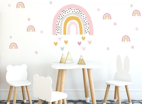 Little Deco Wandtattoo Regenbogen mit kleinen Regenbogen & Herzen DL480