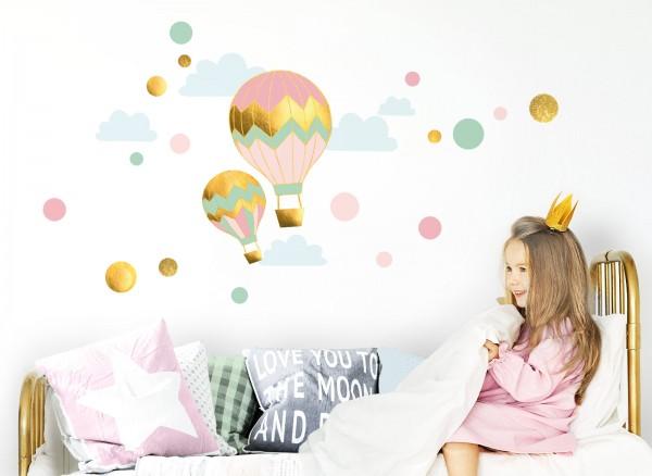 Little Deco Wandtattoo Heißluftballons mit Wolken & Kreise DL493