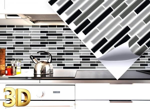 4x 3D Fliesenaufkleber 27,9 x 23,4 cm schwarz grau silber W5414