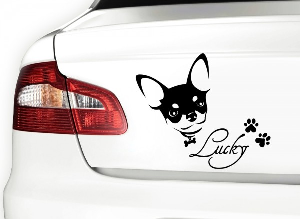 Autoaufkleber Chihuahua mit Wunschnamen + Pfoten X7050