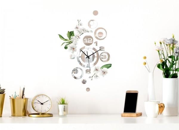 Design Wanduhr Spiegelglas mit Blumendesign DL423