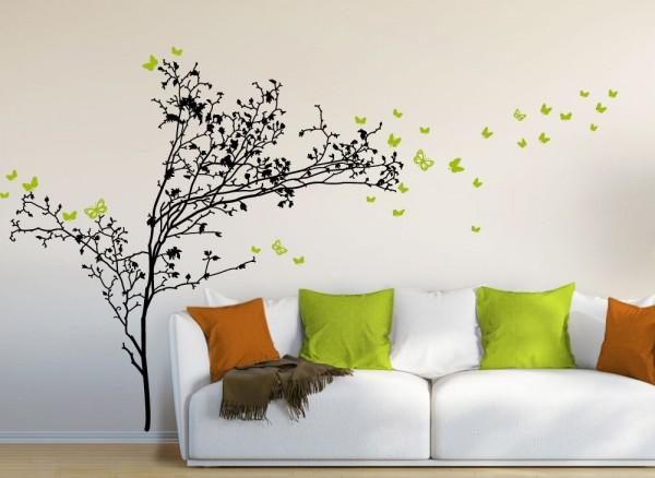 Wandtattoo 2-farbiger Baum + Schmetterlinge W289
