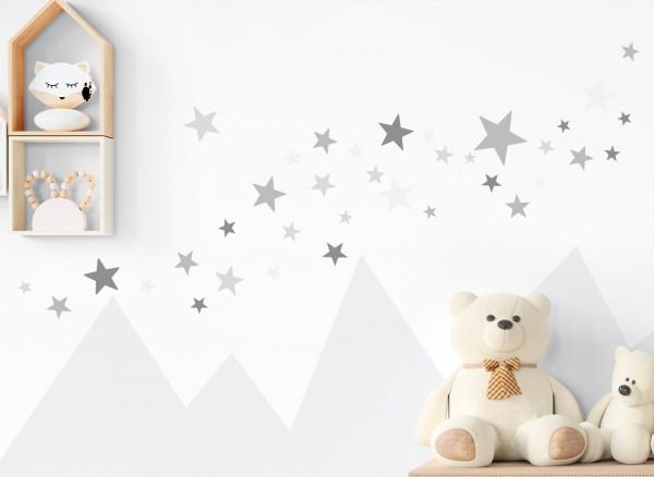 Little Deco Wandtattoo 60 Sterne grau DL394