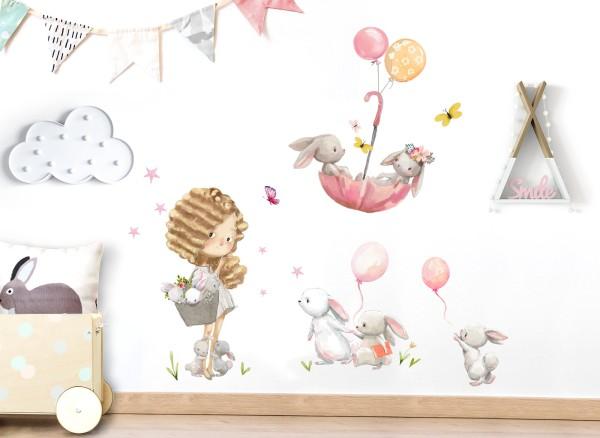 Little Deco Wandtattoo Mädchen & Hasen im Regenschirm DL678