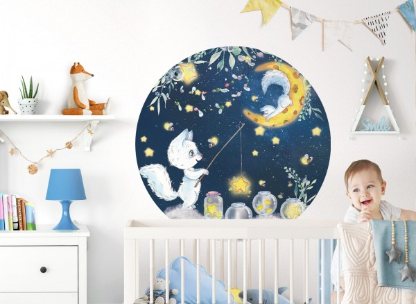 Little Deco Wandtattoo Katzen Mond Sterne DL616