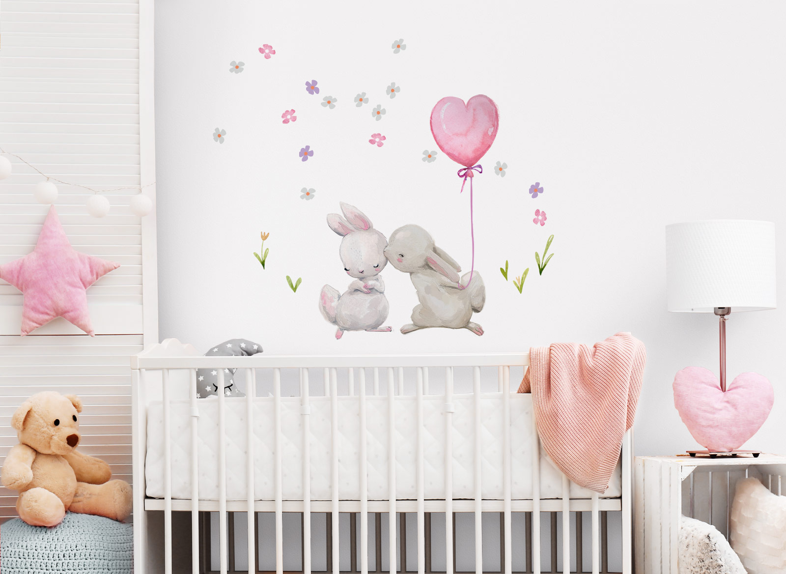 Little Deco Wandtattoo Küssende Hasen mit Luftballon Rosa