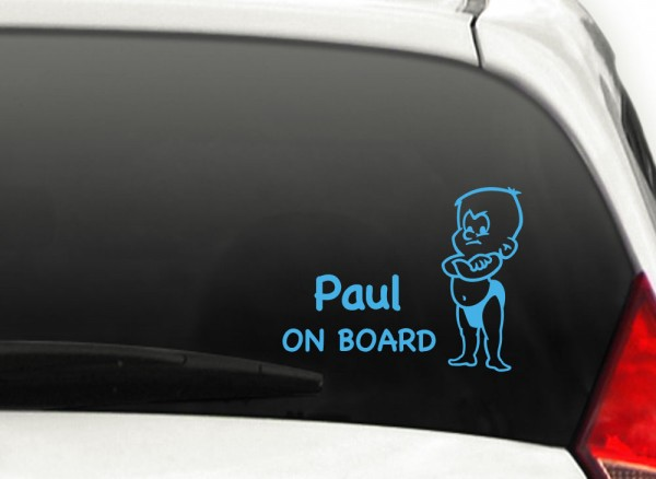Autoaufkleber Baby on Board + Wunschname Junge X7107
