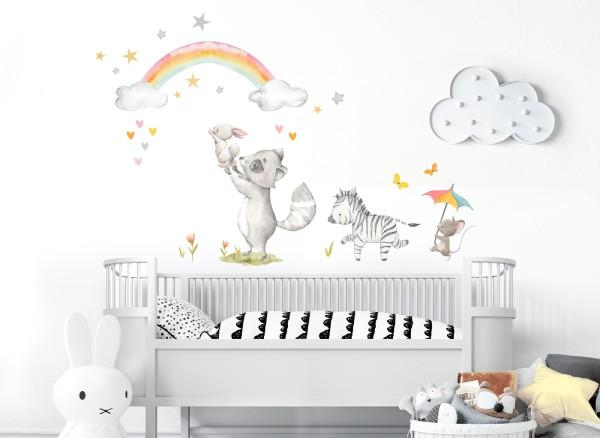Little Deco Wandtattoo Waschbär Hase Zebra Maus DL720