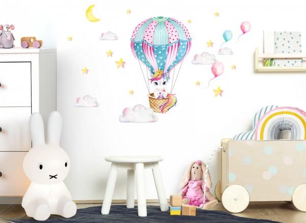 Little Deco Wandtattoo Einhorn mit Heißluftballon DL534