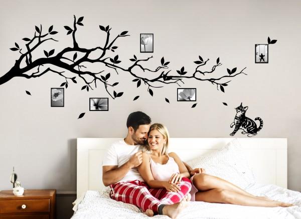 wandtattoo ast mit katze und bilderrahmen g060 b ume ste wohnzimmer wandtattoos nach. Black Bedroom Furniture Sets. Home Design Ideas