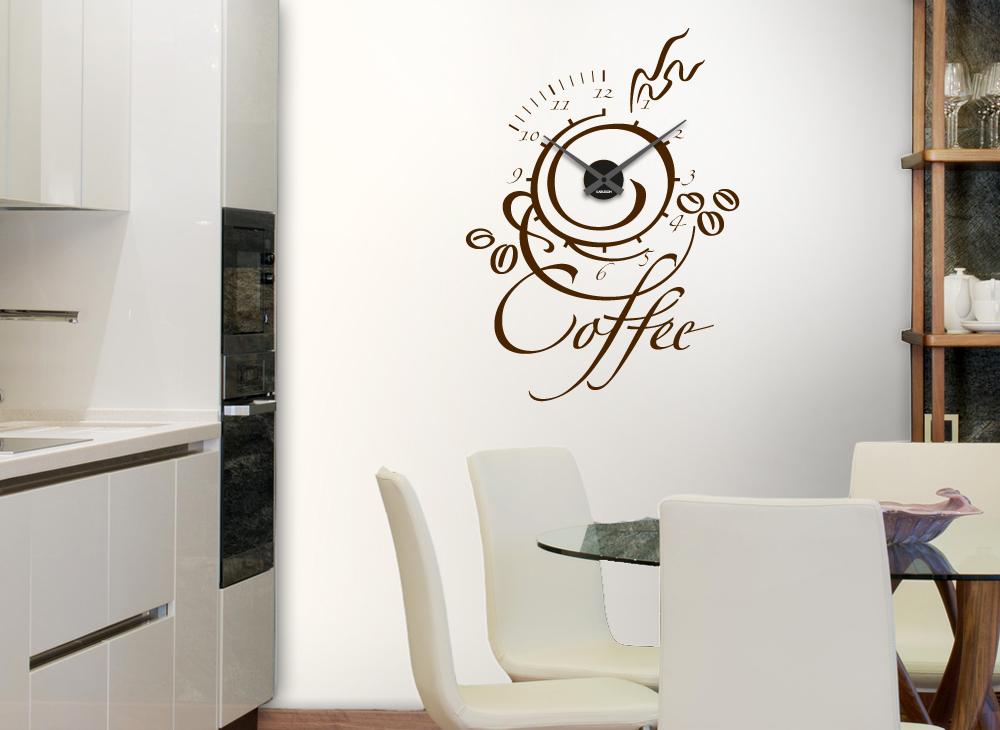 wandtattoo uhr coffee w691 kaffeemotive k che wandtattoos nach zimmer wandtattoos. Black Bedroom Furniture Sets. Home Design Ideas