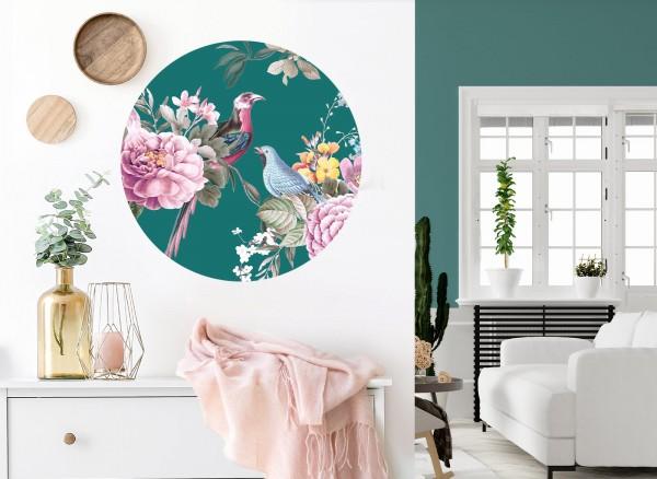 Wandaro runder Wandaufkleber grün mit Vögel & Blumen DL574