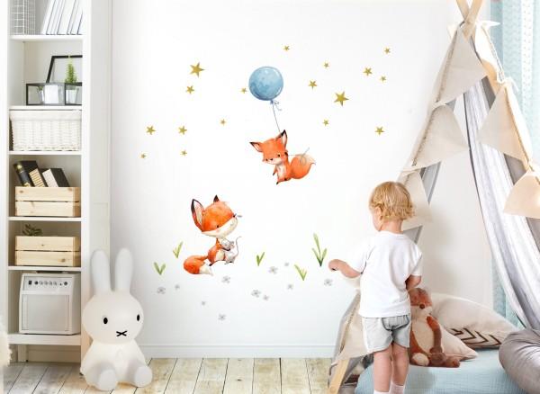 Little Deco Wandtattoo 2 Füchse mit Luftballon DL360