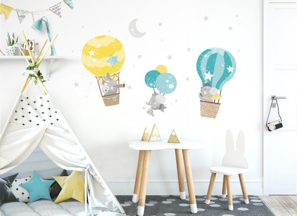 Little Deco Wandtattoo Tiere im Heißluftballon DL509