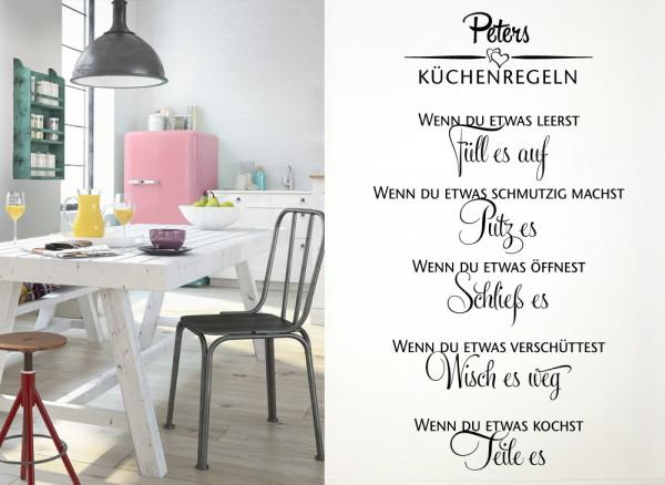 Wandtattoo Küchenregel mit Wunschnamen W975