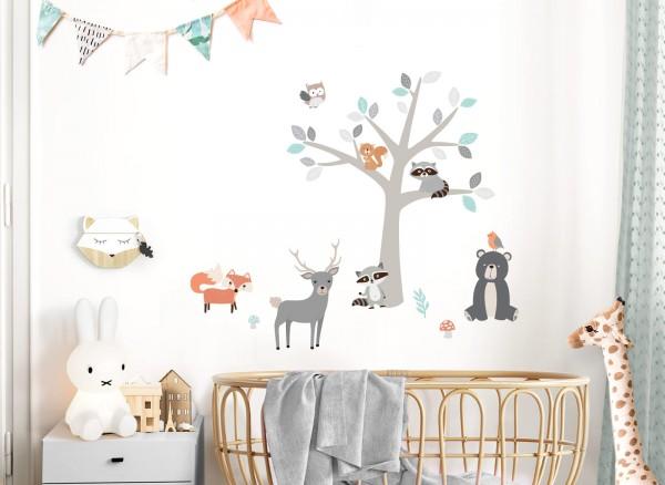 Little Deco Wandtattoo Waldtiere & Baum DL515