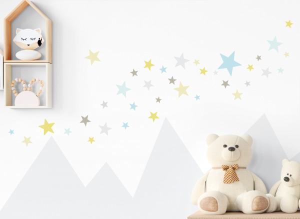 Little Deco Wandtattoo 60 Sterne gelb blau hellgrau DL392
