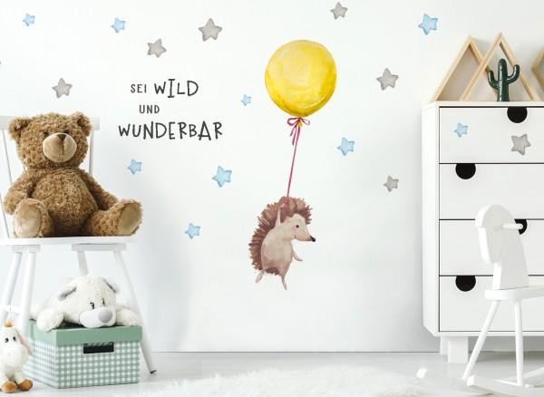 Little Deco Wandtattoo Sei wild & Igel mit Luftballon DL321