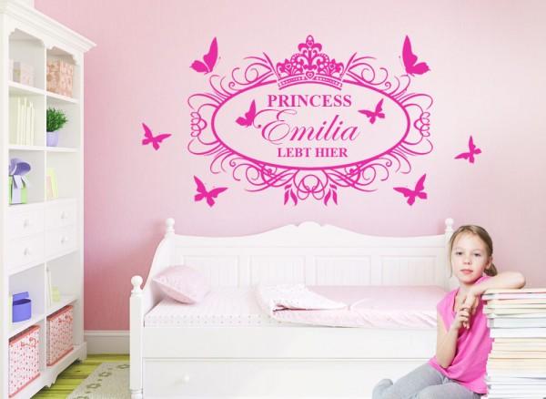Wandtattoo Princess lebt hier + Wunschname und Schmetterlinge W5100