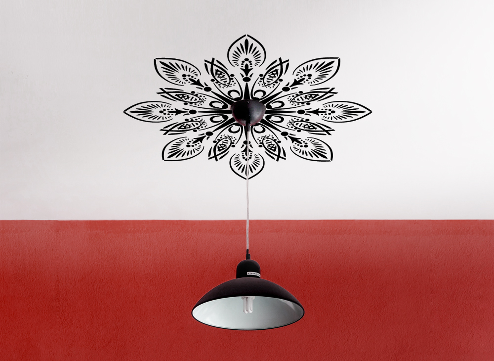 Wandtattoo ornament f r deckenlampe w125 muster for Fliesenaufkleber ornamente