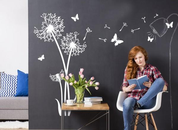 Wandtattoo 3 Pusteblumen + Schmetterlinge W5463