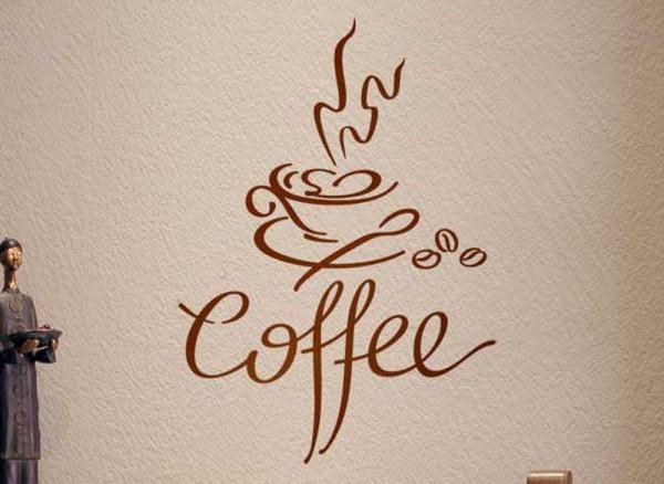 Wandtattoo Coffee Kaffeetasse Kaffeebohnen W705