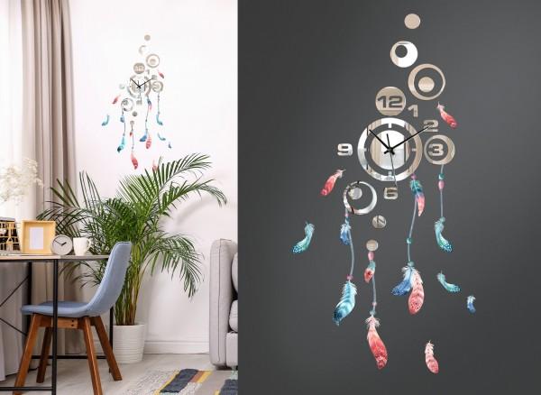Design Wanduhr Spiegelglas mit Federn DL426