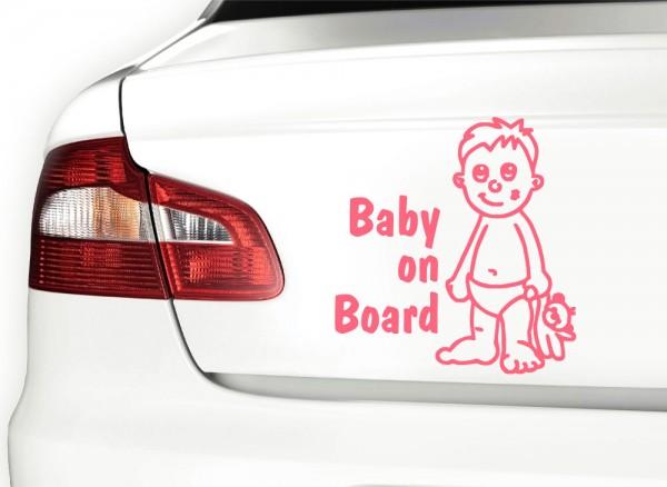Autoaufkleber Baby on Board + Junge mit Teddy X7095