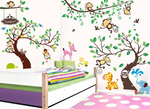 Wandtattoo XXL Premium-Set Bäume Äste Tiere Affen W5367