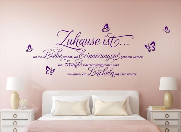 Wandtattoo Zitat Zuhause ist.. + Schmetterlinge W5109