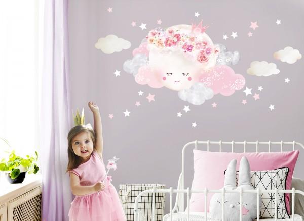Little Deco Wandtattoo Wolken & Mond mit Krone Weiß / Rosa DL447