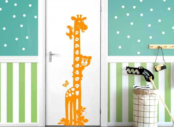 Wandtattoo Maßskala Giraffe Bär 145cm für Kinderzimmer W1038