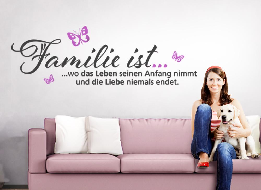 wandtattoo 2 farbig spruch familie ist wo das leben seinen anfang nimmt w5101 spr che. Black Bedroom Furniture Sets. Home Design Ideas