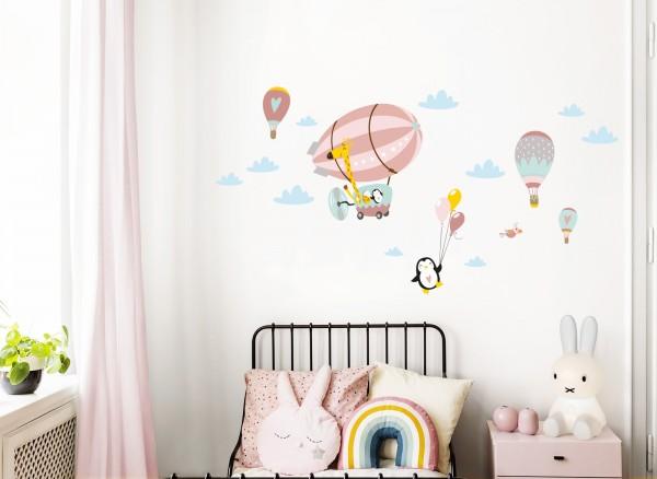 Little Deco Wandtattoo Giraffe im Zeppelin Pinguin mit Luftballons Lachs Grau Rosa DL368