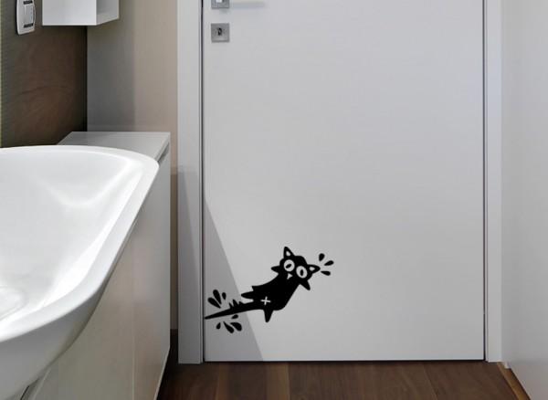 Wandtattoo Türschreck Katze W860