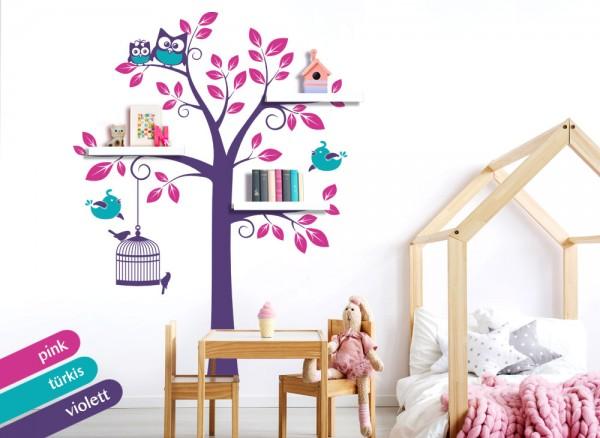 wandtattoo 3 farbiger baum mit v geln eulen pink. Black Bedroom Furniture Sets. Home Design Ideas