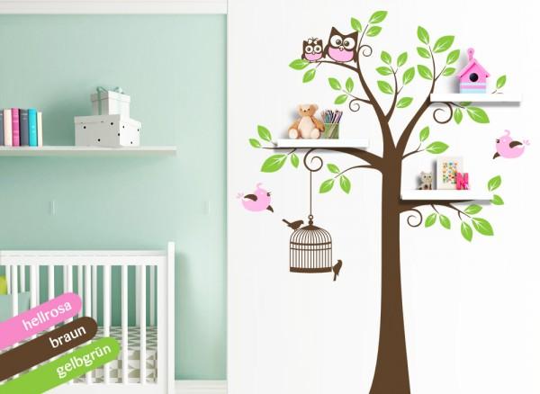 Wandtattoo 3-farbiger Baum mit Vögeln & Eulen hellrosa / braun / gelbgrün W1334