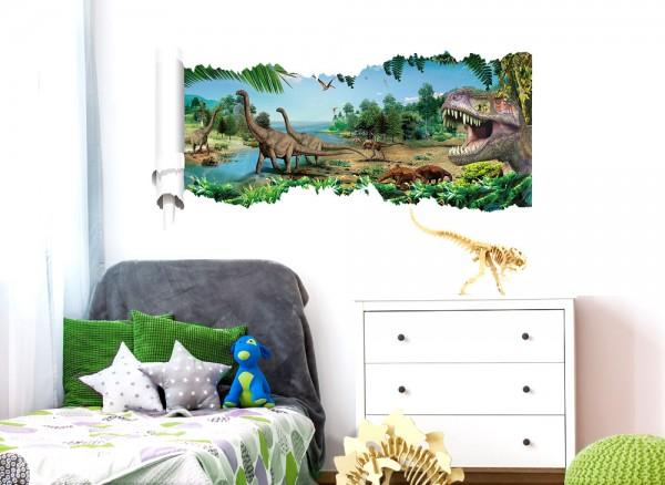 Wandtattoo aufgerissene Wand Dinosaurier W5305