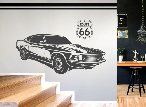Wandtattoo Amerikanisches Muscle Car Route 66 W5512