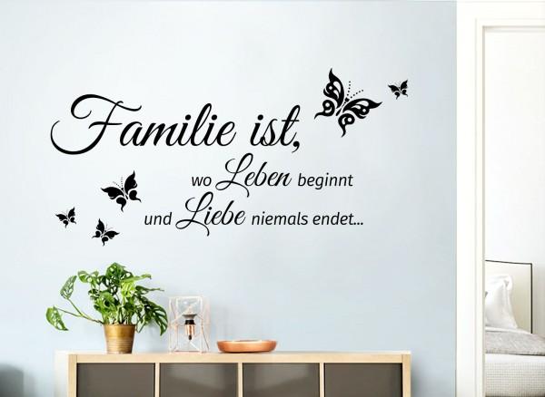 Wandtattoo Familie ist, wo Leben beginnt und Liebe niemals endet... 80 x 40 cm W5548