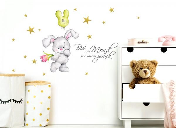 Little Deco Wandtattoo Bis zum Mond & Hase mit Luftballon DL159