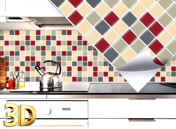4x 3D Fliesenaufkleber 25,3 x 25,3 cm rot beige taupe W5413
