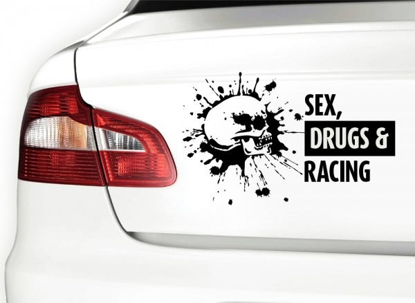 Autoaufkleber Sex Drugs & Racing + Totenkopf X7083