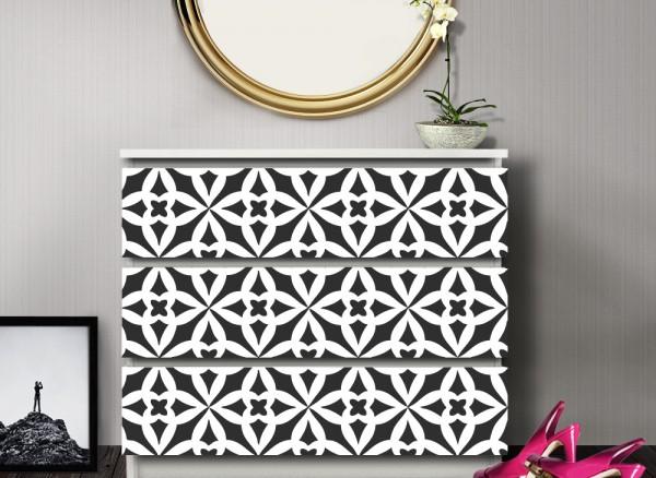 Wandtattoo Ornament passend für IKEA HEMNES und MALM Kommode W5235