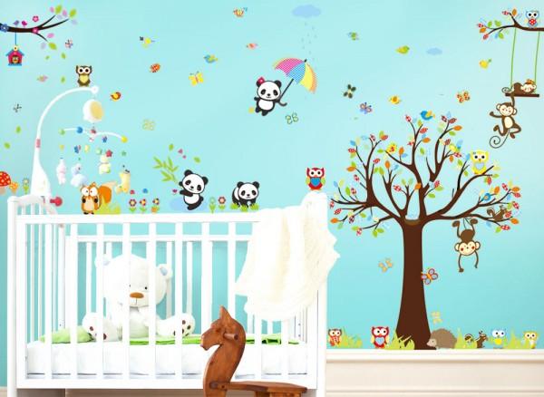 Wandtattoo XXL Premium-Set Baum Eulen Pandabären W5317