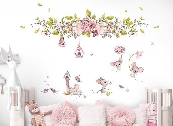 Little Deco Wandtattoo Mäuse Vögel und Blumen DL716