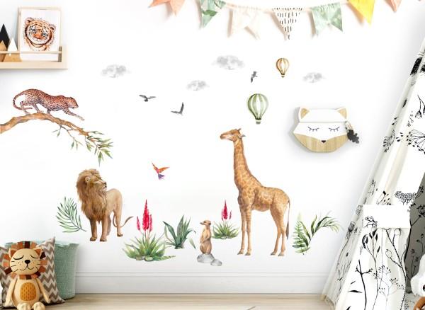 Little Deco Wandtattoo Safari Giraffe Löwe Jaguar & Heißluftballons DL691