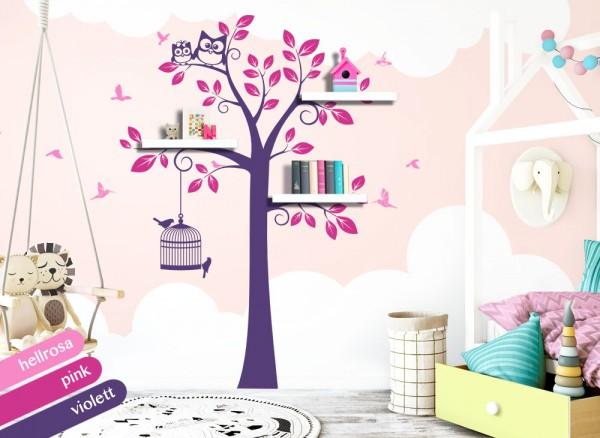 Wandtattoo 3-farbiger Baum mit Eulen + Vögeln hellrosa / pink / violett W1331