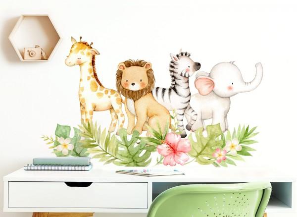 Little Deco Wandtattoo Dschungelmotiv mit Tieren Blätter & Blumen DL453