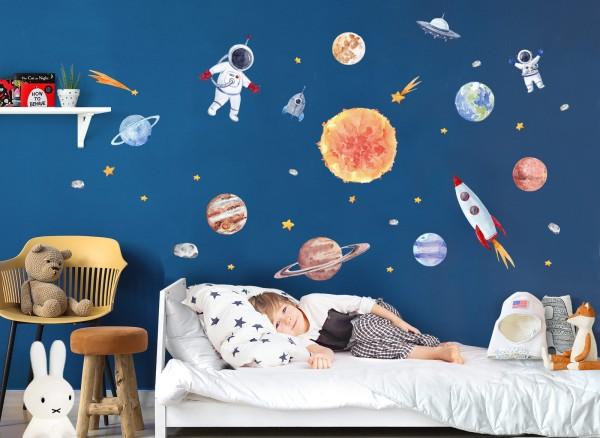 Little Deco Wandtattoo Sonnensystem mit Planeten & Astronaut DL700